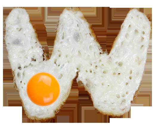Вкусный шрифт из яичницы