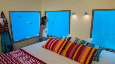 В подводном номере есть двуспальная кровать и неповторимый умиротворяющий вид