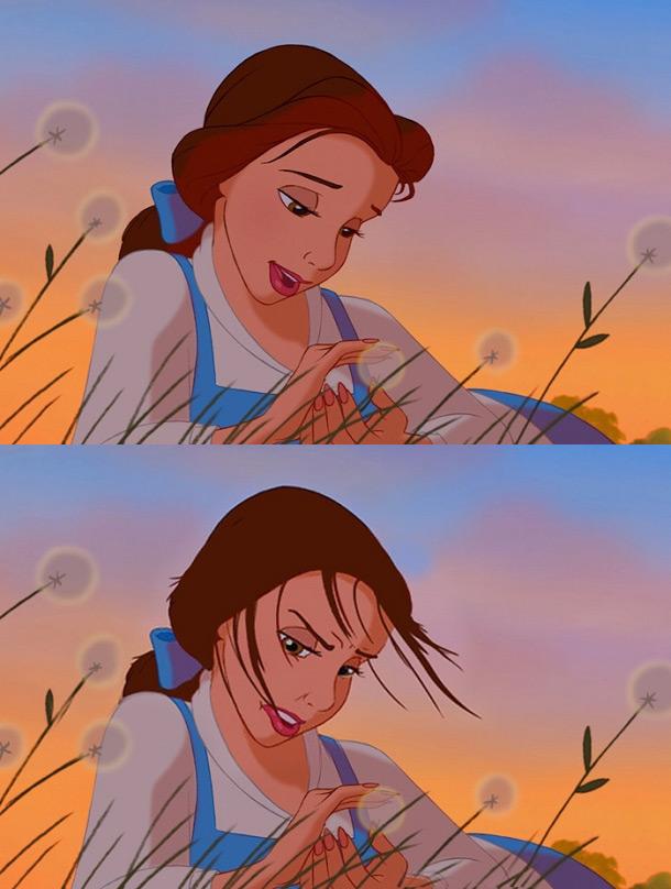 Красавица с кончиками волос во рту