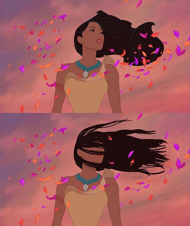 Покахонтас с развевающимися волосами